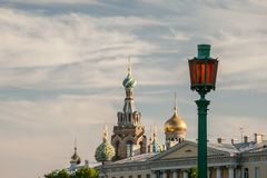 Summer view the Field Mars and Church of the Savior on Spilled Blood stock photos