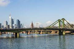 Summer view of the financial district in Frankfurt Stock Photos