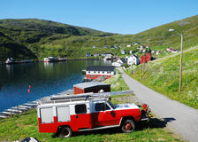 Summer view of fishing village Akkarfjord Stock Photography