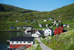 Summer view of fishing village Akkarfjord Royalty Free Stock Photo