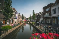 Flowers and canal in Gouda, Netherlands royalty free stock photos
