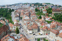 Summer view of Fribourg. Stock Images