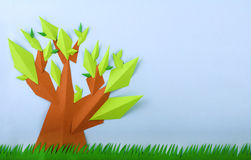 Summer View Green Tree Paper Made Royalty Free Stock Image