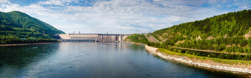 Summer, view of Hydroelectric power station on the Yenisei River. In Russia, Krasnoyarsk Stock Photos