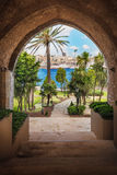 Summer view of Istanbul through the temple's arch. Palms, sea, s Stock Image