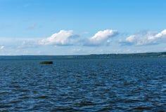 Summer view of Lake Pleshcheyevo, sunny summer day. Blue sky. Pereslavl-Zalessky, Yaroslavl region, Russia