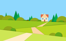 Summer View Landscape Road To House Stock Image