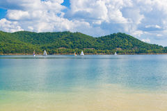 Summer view of a local lake with sailboats in Kentucky, USA Stock Photo