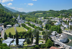 Summer view of Lourdes with the Rosary basilica Royalty Free Stock Photo