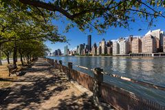 Summer view on Manhattan Midtown East skyscrapers from Roosevelt Island. New York City Stock Image