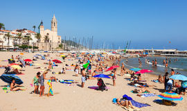 Summer view of Mediterranean  beach  in Sitges Stock Photo