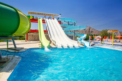 Summer view for Mikri Poli hotel's water park in Kolymbia Stock Photography