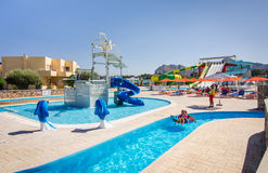 Summer view for Mikri Poli hotel's water park Stock Photography