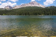 Summer view of Misurina lake in Veneto, Italy stock photo