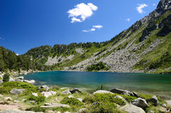 Summer view of the mountainous lake  in Pyrenees Royalty Free Stock Image