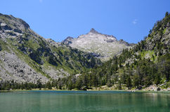 Summer view of the mountainous lake in Pyrenees Stock Photography