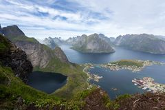 Summer view of mountains and Reine in Lofoten islands, Norway royalty free stock photo