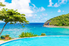 Summer view of nature from infinity pool in the hotel on a tropi Stock Photography