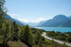 Norwegian fjord. Summer view of Norwegian fjord. Mountain, sea, road Stock Photography