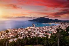 Summer View Of Zakynthos Zante Town. Beautiful Cityscape Panorama Of Greece City Stock Photos