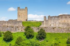 Richmond Castle in Yorkshire, England. A summer view from outside the grounds of the Richmond Castle in Yorkshire, England stock images