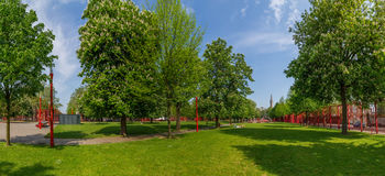 Summer view of Park Jean-Baptiste Lebas in Lille France. Park Jean-Baptiste Lebas in Lille France during sunny day Stock Photos