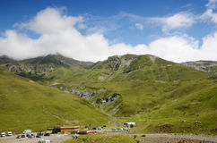 Summer view from the pass of Tourmalet in Pyrenees Stock Photos