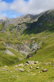 Summer view from the pass of Tourmalet in Pyrenees Royalty Free Stock Images