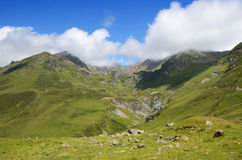 Summer view from the pass of Tourmalet in Pyrenees Stock Photography