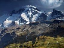 Summer view from Pennine Alps, Switzerland. View on Monte Rosa Massif, Switzerland Stock Photo