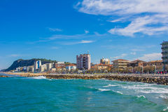 Summer view of Pesaro city on the adriatic sea Royalty Free Stock Photos