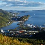 Summer view of Petropavlovsk-Kamchatsky City, Avacha Bay and Pacific Ocean Stock Image