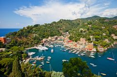 Summer view of Portofino town. Summer view of Portofino harbor and town from castle Brown Stock Image