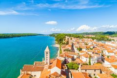 Summer is coming!. Summer view of rab island and mediterranean sea from Croatia stock image