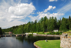 Summer view with river Kajaani. Stock Images