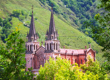 Summer view of Sanctuary of Covadonga Royalty Free Stock Image
