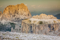 Summer view of Sass Pordoi mount and Fassa Valley, Italian Dolim Royalty Free Stock Photos