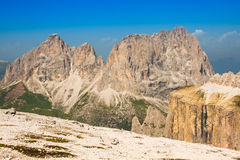 Summer view of Sass Pordoi mount and Fassa Valley, Italian Dolim Royalty Free Stock Photo