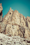Summer view of Sass Pordoi mount and Fassa Valley, Italian Dolim Stock Images