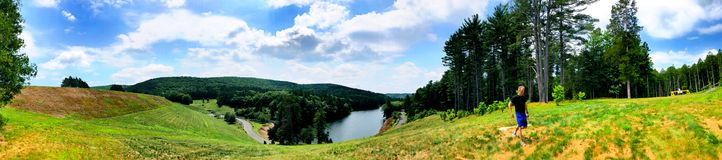 Summer view from Saville Dam. In Connecticut near Barkhamsted Reservoir and Farmington River in Connecticut United States stock image