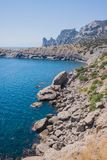 Summer view seacoast. Sudak beach. Black Sea, Ukraine Stock Image