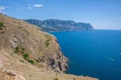 Summer view seacoast. Sudak beach. Black Sea, Ukraine Royalty Free Stock Photography