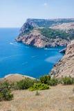 Summer view seacoast. Sudak beach. Black Sea, Ukraine Stock Image