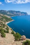 Summer view seacoast. Sudak beach. Black Sea, Ukraine Royalty Free Stock Image