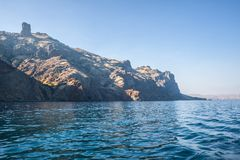 Summer view seacoast. Sudak beach. Black Sea, Ukraine Stock Photo