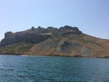 Summer view seacoast. Warm sea and beautiful nature. Black Sea, Crimea Royalty Free Stock Images