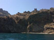 Summer view seacoast. Warm sea and beautiful nature. Black Sea, Crimea Stock Image