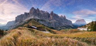 Summer view of Sella Mountain and Sella Stock Image