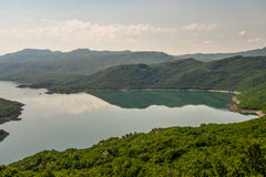 Summer view of the Slansko Lake. With islands near Niksic town, Montenegro Royalty Free Stock Images