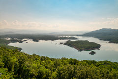 Summer view of the Slansko Lake. With islands near Niksic town, Montenegro Royalty Free Stock Photography
